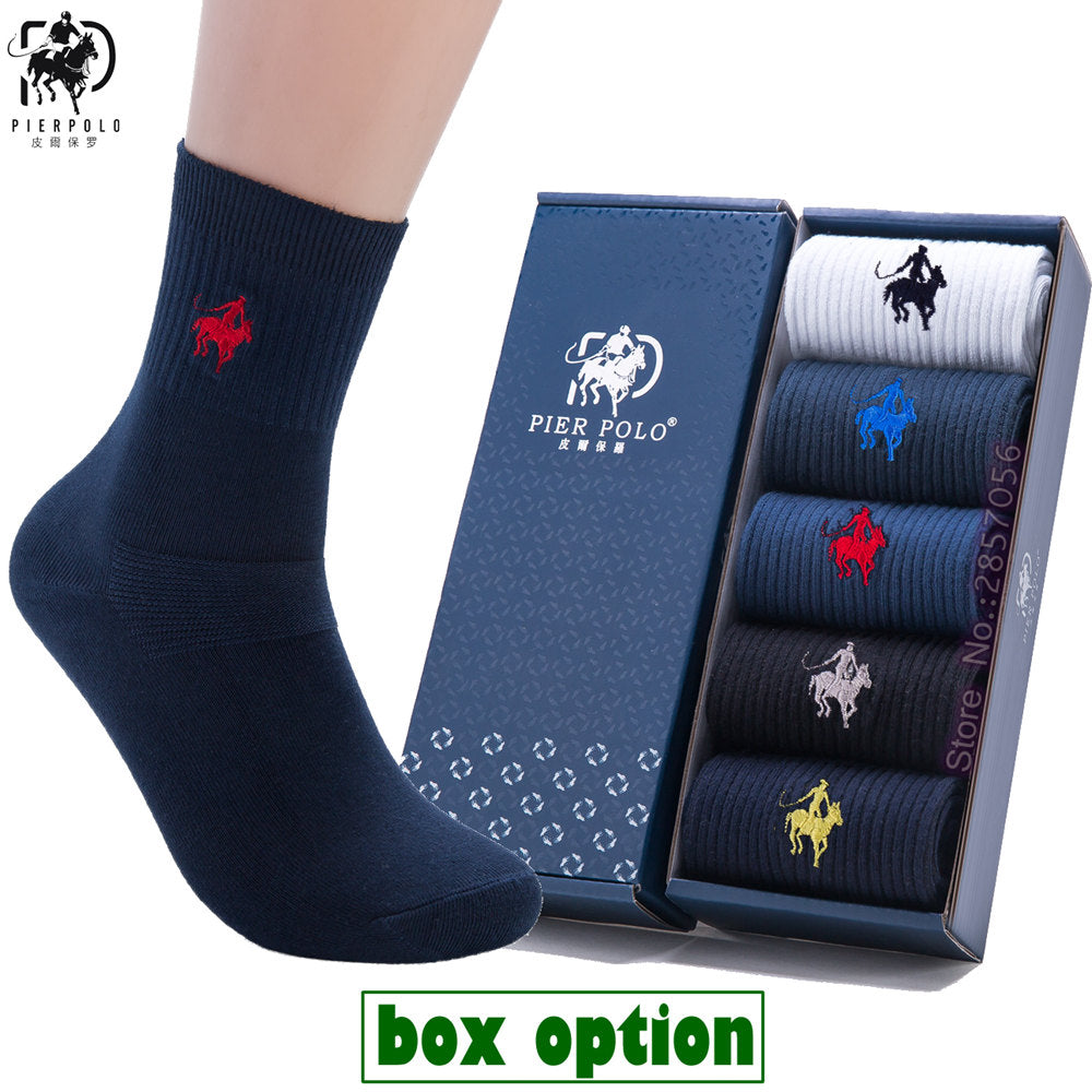 (5 Pairs, Gift Box) Combed Cotton Dress Socks