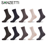 SANZETTI 10 pairs/lot Men Bamboo Socks Anti-Bacterial
