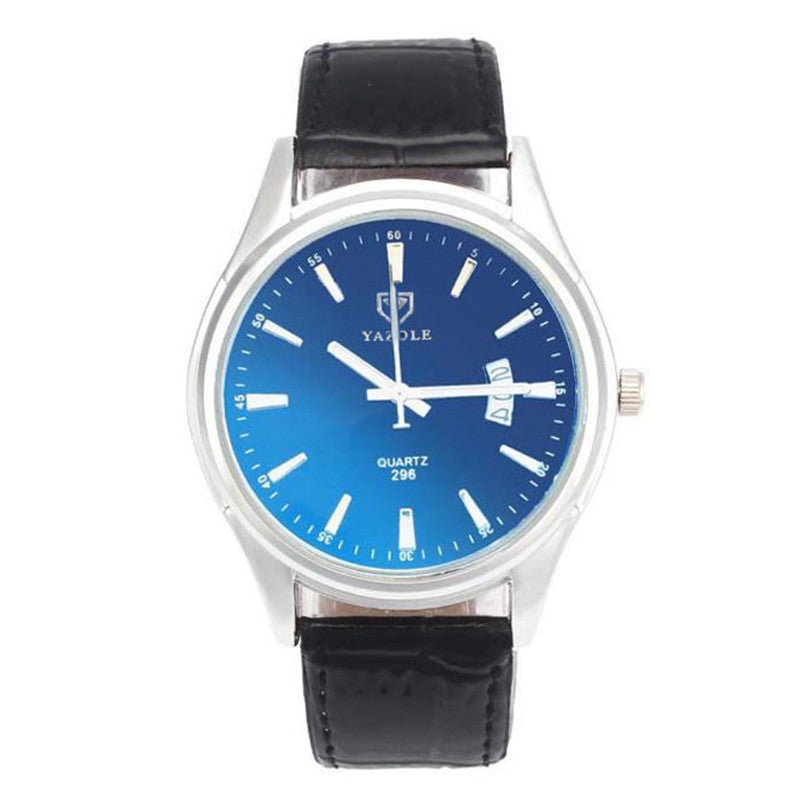 Yazole Stainless steel Dial Hour Blue Ray Glass Quartz Watche
