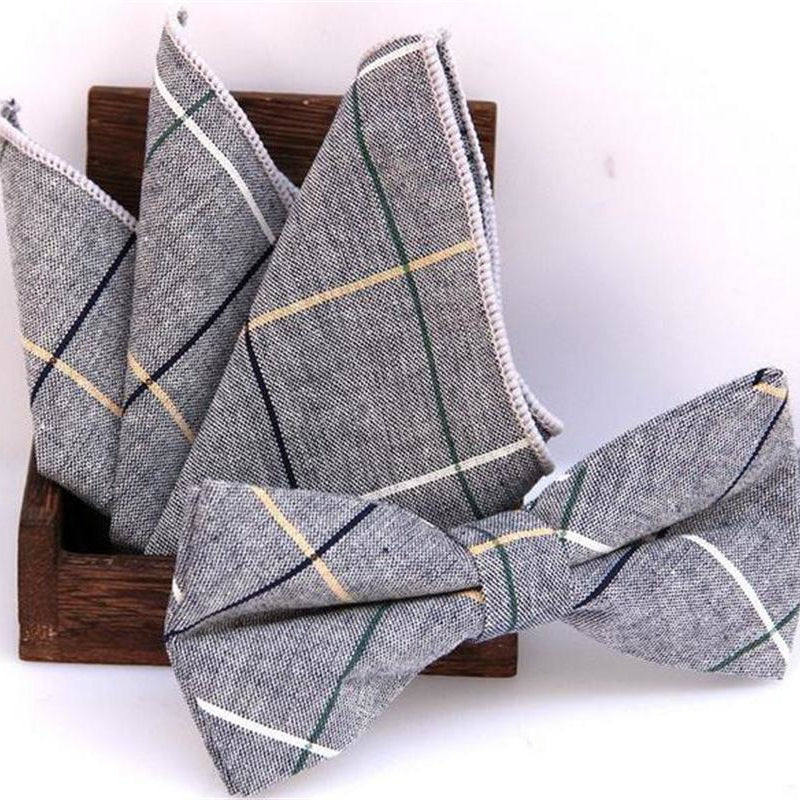 Classic cotton Jacquard Woven Men Butterfly Bow Tie w/Pocket Square