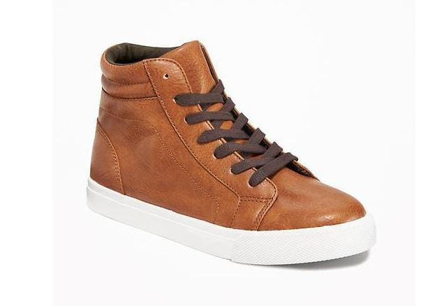 Faux-Leather Lace-Up High-Tops for Boys