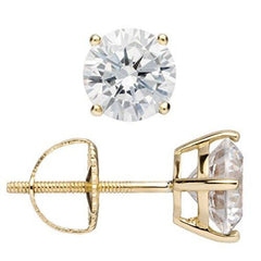 14K Solid Gold Round Cut Cubic Zirconia Stud Earrings, Screw Back Posts (1.8 ctw), Gift Box