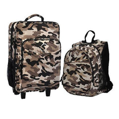 OBERSEE Kids Luggage and Backpack Set With Integrated Cooler - Camouflage