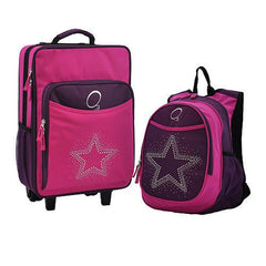 OBERSEE Kids Luggage and Backpack Set With Integrated Cooler - Bling Rhinestone Star