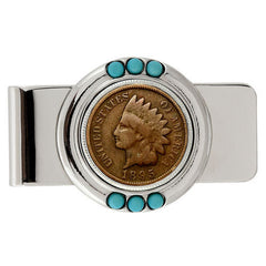 1800's Indian Penny Turquoise Money Clip