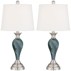 Arden Green-Blue Glass Twist Column Table Lamps - Set of 2