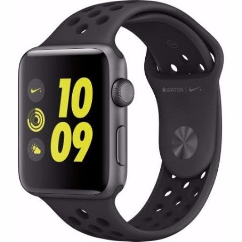 Apple - Apple Watch Nike+ 38mm Space Gray Aluminum Case Anthracite/Black Nike Sport Band - Space Gray Aluminum