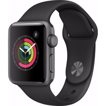 Apple - Apple Watch Series 2 42mm Space Gray Aluminum Case Black Sport Band - Space Gray Aluminum