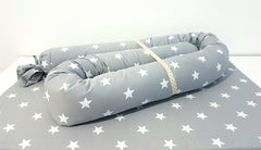 Baby Snake pillow, Stars, Gray & White, Roll pillow, Candy pillow, Cotton, Baby bed bumper, crib bumper, baby sheets. Co-sleeping pillow