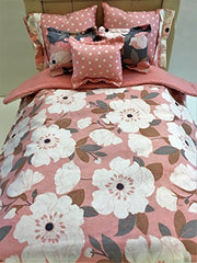 Pink and Grey Flower 18 Inch Doll Comforter with 5 pillows Handcrafted To Fit Dolls Up TO 18 Inches