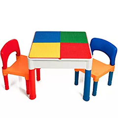 Smart Builder Toys Kids 2 in 1 Duplo and Lego Compatible Table With Large Storage Area and 2 Chairs Set