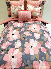 Grey and Pink Flower 18 Inch Doll Comforter and 5 Pillows Handcrafted To Fit Dolls Up To 18 Inches