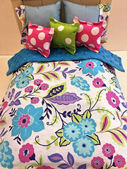 Blue Floral and Dot 18 Inch Doll Comforter and 5 Pillow Set Handcrafted to fit Dolls up to 18 Inches