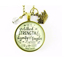 "24"" She is Clothed in Strength and Dignity and Laughs Women's Proverbs 31 25 Christian Necklace Circle 1.20"" Glass Pendant Crown Charm"