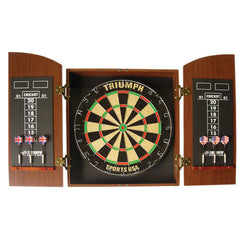 Wellington Bristle Dartboard and Scoreboard with Arch Cabinet and 2-Set Steel Tip Darts