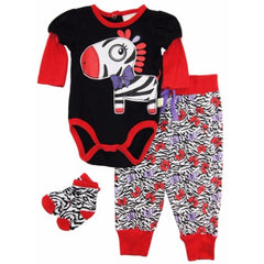 Duck Goose Baby Girls Zebra Bodysuit Terry Pant and Socks 3Pc Gift Set