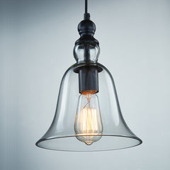 CLAXY Ecopower 1 Light Vintage Hanging Big Bell Glass Shade Ceiling Lamp Pendent Fixture