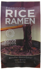Lotus Foods Rice Ramen Noodles, Forbidden Rice with Miso Soup, 10 Count