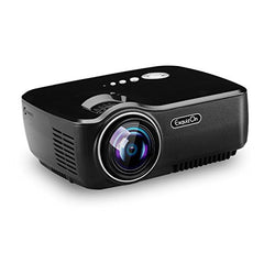 Exquizon TFT-LCD Portable Projector Video Home Projector 1200 Lumens with HDMI Input Support 1080P for PS3/XBOX Games iPad iPhone Android Smartphone-GP70, Black