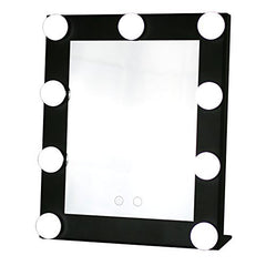 Yvettevans Hollywood Makeup Vanity Mirror with Light Tabletops Lighted Mirror with Dimmer Stage Beauty Mirror Valentine's Day Gift Small (Black)