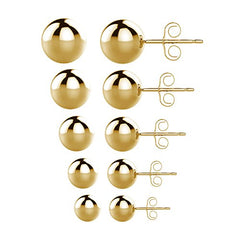 UHIBROS 316L Surgical Stainless Steel Round Ball Studs Earrings - Gold