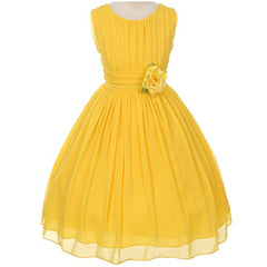 Adorable Ruched Round Neck Yoryu Chiffon Flower Girl Dress