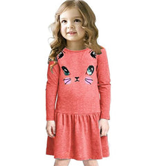 Clearance! Children Clothing Princess Dress Baby Girl Casual Cat Printed Dresses