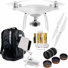 DJI - Phantom 4 Pro Quadcopter with Backpack, Two Styles of Lens Filters, Mobile Monitor Hood , RangeBooster, and Propellers