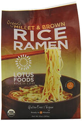Lotus Foods Organic Rice Ramen Noodles, Millet and Brown Rice, 4 Count, 10 Ounce (Pack of 6)