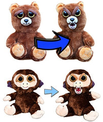 "Feisty Pets by William Mark: Sir Growls-A-Lot & Grandmaster Funk- 8"" Plush Stuffed Bear and Monkey That Turn Feisty With a Squeeze"