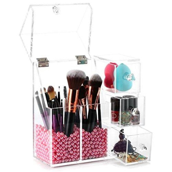 Makeup Brush Holder, HABIBEE Acrylic Makeup Organizer with 2 Brush Holders and 3 Drawers Dustproof Box with Free Pearl