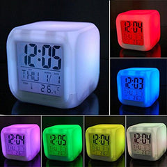 SIS 7-Colour LED Changing Digital Alarm Clock with snooze,music and Large Display-White