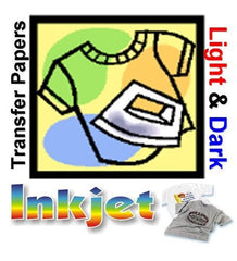 100PK.LIGHT FABRICS TRANSFER PAPER FOR INK JET PRINTING 8.5x11