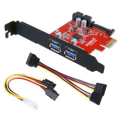 Intecka PCI-E to USB 3.0 2-Port PCI Express Card and 15-Pin Power Connector, Mini PCI-E USB 3.0 Hub Controller Adapter, with Internal USB 3.0 20-PIN Connector - Expand Another Two USB 3.0 Ports