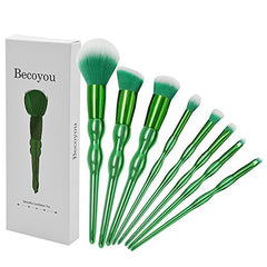 Becoyou Makeup Brushes Set, 8Pcs Cosmetic Brush Kit with Organizer Bag for Eyeshadow Eyeliner Foundation Blush Concealer, Green