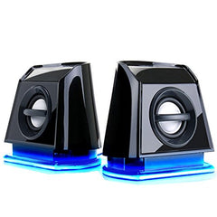 GOgroove 2MX Computer Desktop Speakers with Passive Subwoofer , Blue LED Lights and Dual Drivers - Works with PC , Apple MAC , Dell , HP , CybertronPC Desktop and Laptop Computers