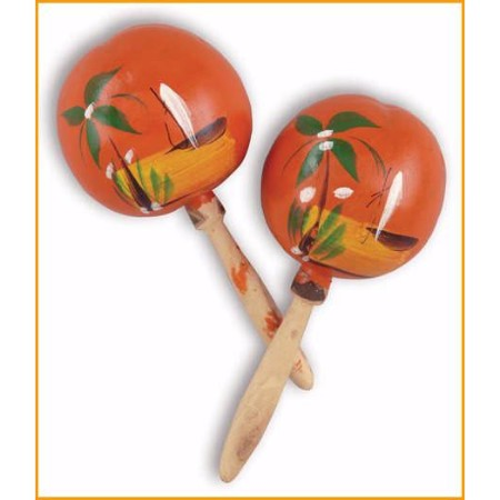 Gourd Traditional Bright Painted Mexican Maracas 8