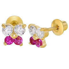 18k Gold Plated Fuchsia Pink Butterfly Crystal Screw Back Girls Infants Earrings