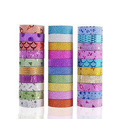 30 Rolls Washi Masking Tape Set,Decorative Craft Tape Collection for DIY and Gift Wrapping with Colorful Designs and Patterns