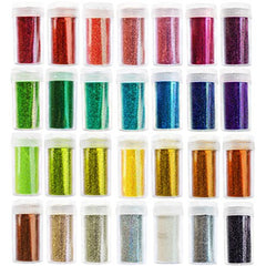 28 Arts & Crafts Extra Fine Glitter Set, Solvent Resistant Glitter Powder Shakers, 28 pack