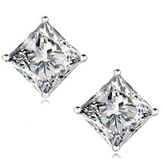 STUNNING FLAME 18K Gold Plated Silver Princess Cut Simulated Diamond CZ Stud Earrings
