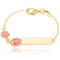 Gold Overlay ID Bar Baby Bracelet with a Pink Ladybug & Flower Charm
