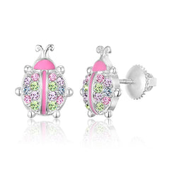 Kids Earrings - Premium Post 925 Sterling Silver White Gold Tone Pink Enamel and Crystal LadyBug Screwback Earrings MADE WITH SWAROVSKI ELEMENTS Kids, Children, Girls, Baby
