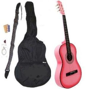 "38"" PINK Acoustic Guitar Starter Package, Guitar, Gig Bag, Strap, Pitch Pipe & DirectlyCheap(TM) Translucent Blue Medium Guitar Pick"