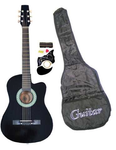 "38"" Inch Student Beginner Black Acoustic Cutaway Guitar"