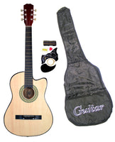"38"" Inch Student Beginner Natural Acoustic Cutaway Guitar with Carrying Case & Accessories & DirectlyCheap(TM) Translucent Blue Medium Guitar Pick"