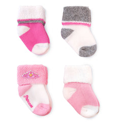 Child of Mine by Carter's Newborn Baby Girls 4 Pack Princess Terry Cuff Socks, 0-6M