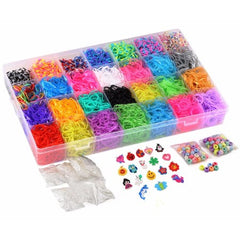 10,000pc Quality Rainbow Rubber Bands Refill Set by Daskid - Includes: Loom Band Organizer + Over 9000 Premium Loom Bands in 28 Different Colors, + 500 S Clips, + 18 Charms and 150 Beads.