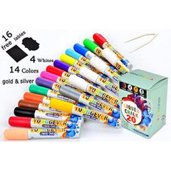 20 Pcs Liquid Chalk Markers Pack - 14 colors - 4 white - 1 Gold - 1 Silver - Non Toxic