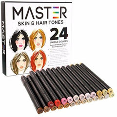 24 Color Master Markers Skin & Hair Tones Dual Tip Set